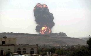 Explosão resultante de um ataque com míssil Tochka. Neste ataque pereceram 22 soldados do EAU. Foto: internet.